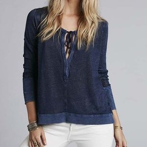 Free People Open Weave Henley Top